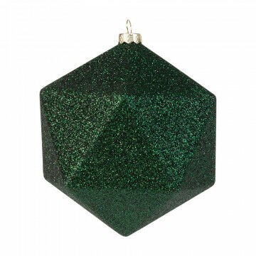 kerstbal facet in glitter finish en onbreekbaar, groen kunststof, 10 cm