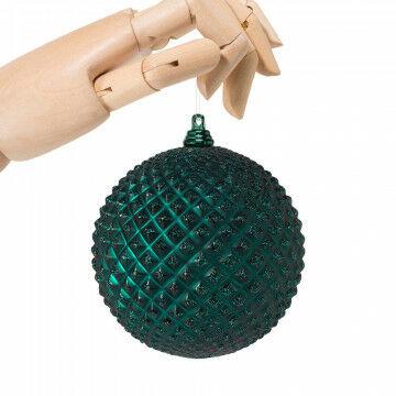 kerstbal pin in matte glitter finish en onbreekbaar, groen kunststof, 10 cm