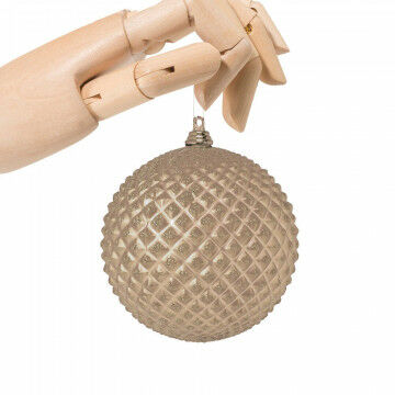 kerstbal pin champ/goud in matte finish met glitter, onbreekb, champagne kunststof, 10 cm