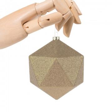 kerstbal facet in glitter finish, onbreekbaar, champagne kunststof, 10 cm