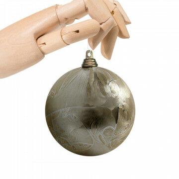 kerstbal ice, elke kerstball is uniek door handmatige afwerking, champagne kunststof, 10 cm