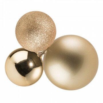 kerstbalcluster bestaat uit 3 onbreekbare kerstballen, champagne kunststof