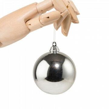 Kerstbal in glanzende finish, onbreekbaar, zilver kunststof, 7 cm