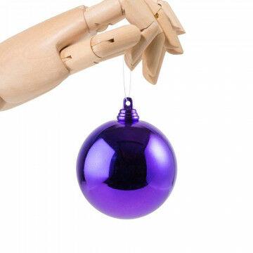 kerstbal in glanzende finish en onbreekbaar, paars kunststof, 7 cm