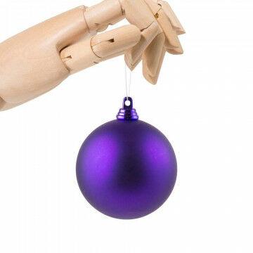 kerstbal in matte finish en onbreekbaar, paars kunststof, 7 cm