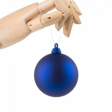 Kerstbal in matte finish, onbreekbaar, blauw kunststof, 7 cm