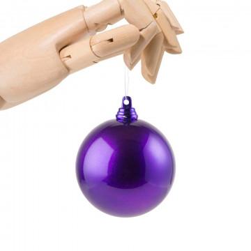 kerstbal in metallic finish en onbreekbaar, paars kunststof, 7 cm