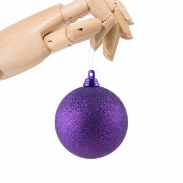 kerstbal in glitter finish en onbreekbaar, paars kunststof, 7 cm