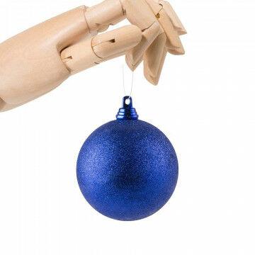 Kerstbal in glitter finish, onbreekbaar, blauw kunststof, 7 cm