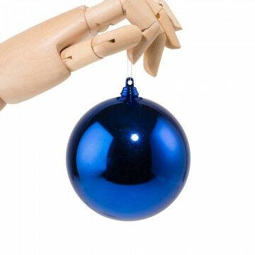 Kerstbal in glanzende finish, onbreekbaar, blauw kunststof, 10 cm