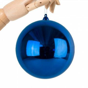 Kerstbal in glanzende finish, onbreekbaar, blauw kunststof, 14 cm