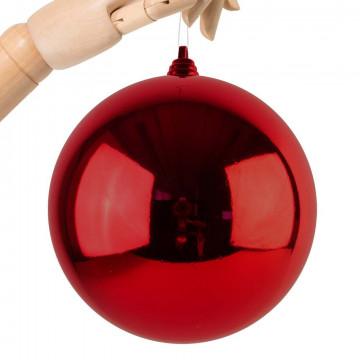 Kerstbal in glanzende finish, onbreekbaar, rood kunststof, 20 cm