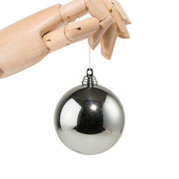 kerstbal in glanzende finish en onbreekbaar, grijs kunststof, 7 cm