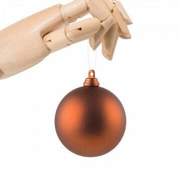 kerstbal in matte finish en onbreekbaar, oranje koper kunststof, 7 cm