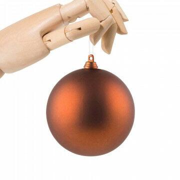 kerstbal in matte finish en onbreekbaar, oranje koper kunststof, 10 cm