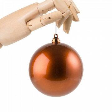 kerstbal in metallic finish en onbreekbaar, oranje koper kunststof, 10 cm