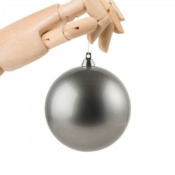 kerstbal in metallic finish en onbreekbaar, grijs kunststof, 10 cm