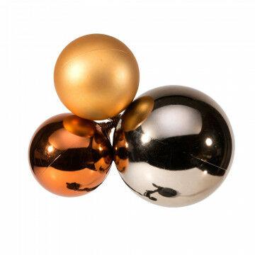 cluster van drie kerstballen, goud kunststof