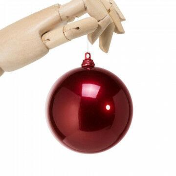 kerstbal in metallic finish, onbreekbaar, bordeaux kunststof, 10 cm