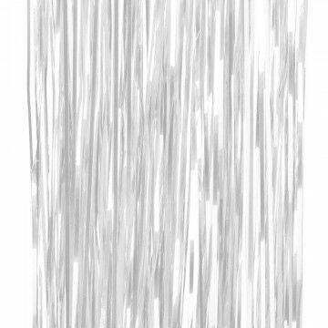 feestgordijn gemaakt van strookjes folie van 5mm, wit kunststof, 90 x 250 cm
