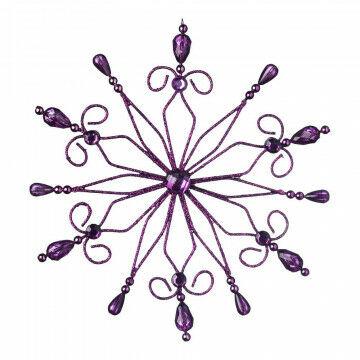 Kristallen 'Romance' met edelstenen, paars kunststof, 20 cm