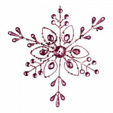 Kristallen 'Edelsteen' met edelstenen, roze kunststof, 18 cm