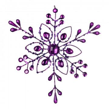 Kristallen 'Edelsteen' met edelstenen, paars kunststof, 18 cm
