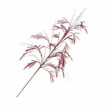 Glittertakken 'Koren' steel 30cm, 6 zijtakken, rood kunststof, 90 cm