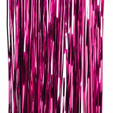 feestgordijn gemaakt van strookjes folie van 5mm, roze kunststof, 90 x 300 cm