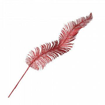 Glittertak 'Veer', rood kunststof, 100 cm