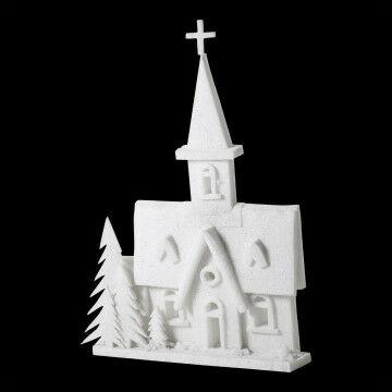 Kerk 3D Sneeuwdacron tableau met kerk en boom, knock-down, wit dacron, 80 x 110 cm