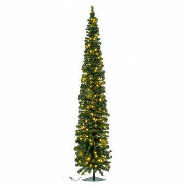 hoekkerstboom pencil premium prelighted met 120 warmwitte led lampjes, groen kunststof, 240 cm
