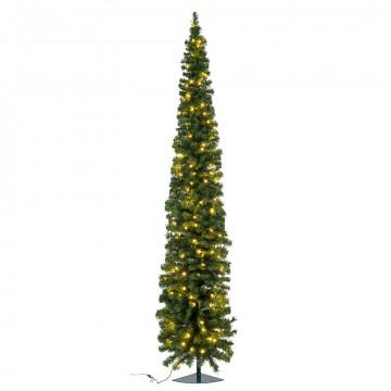 hoekkerstboom pencil premium ruimtebesparend en met 120 warmwitte lampjes, groen kunststof, 240 cm