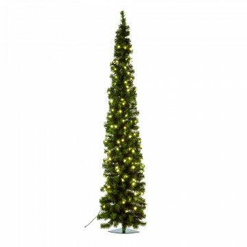 hoekkerstboom pencil premium prelighted ruimtebesparend en met 88 warmwitte lampjes, groen kunststof, 180 cm