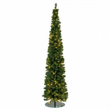 kerstboom pencil premium met 224 warm wit led, 693 tips, 50cm voet, groen kunststof, 240 x 60 cm