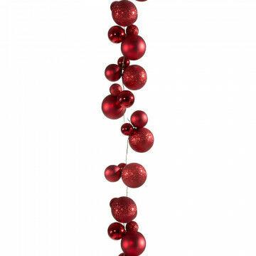 kerstbalrank met 20 setjes kerstballen van 5, 7 en 10cm, rood kunststof, 270 x 10 cm