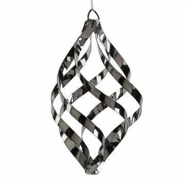 ornament swirl heeft een mooie gedraaide pegelvorm, grijs metaal, 10 cm