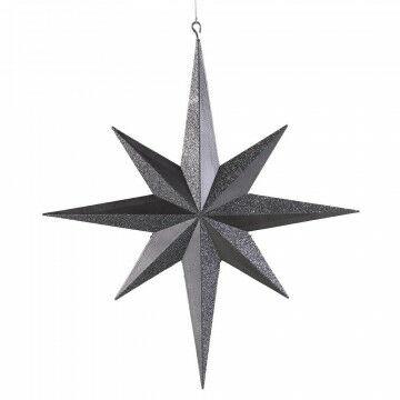 ornament ster met 8 punten en een glitter & matte finish, grijs kunststof, 40 cm