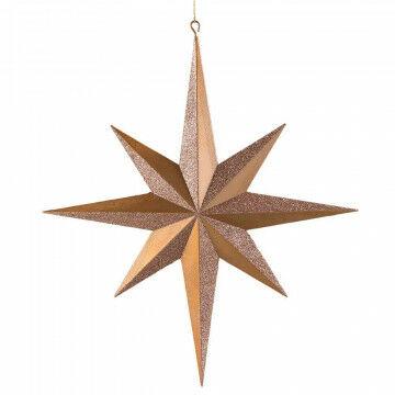 ornament ster met 8 punten en een glitter & matte finish, rosé koper kunststof, 40 cm