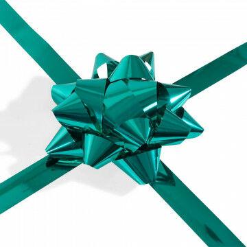 cadeaustrik xl met 17 lussen en 15 meter lint, emerald groen kunststof, 20 x 50 cm