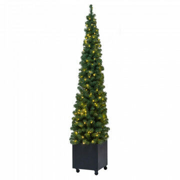 kerstboom in verrijdbare metalen box