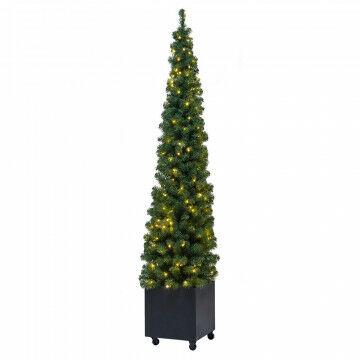 kerstboom voor buiten in metalen box verrijdbaar, met 200 warmwitte led lampjes, 230 cm