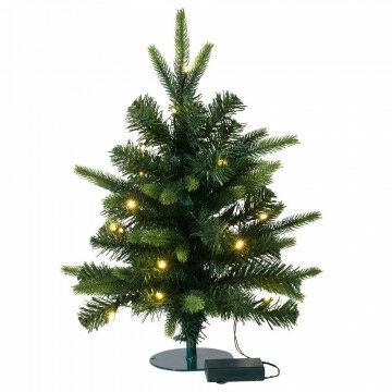 minikerstboom waltham met 45 tips en batterijverlichting, groen kunststof, 50 cm