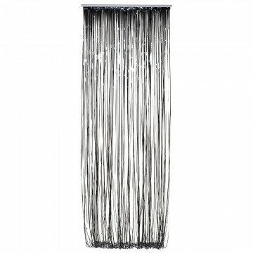 feestgordijn gemaakt van strookjes folie van 5mm, zwart kunststof, 90 x 300 cm