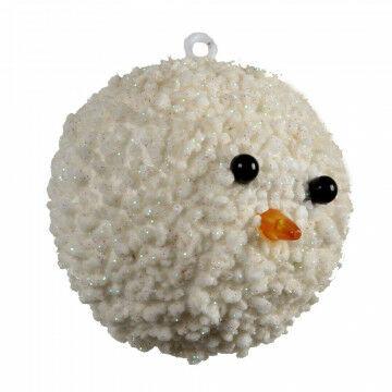 sneeuwbal frosty herkenbare decoratie voor de winter, met glitter, wit kunststof, 15 cm