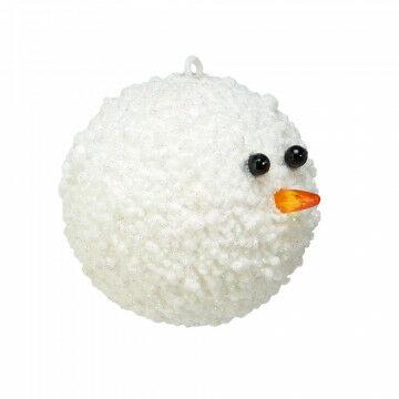 sneeuwbal frosty winterse decoratie met glitter, wit kunststof, 8 cm