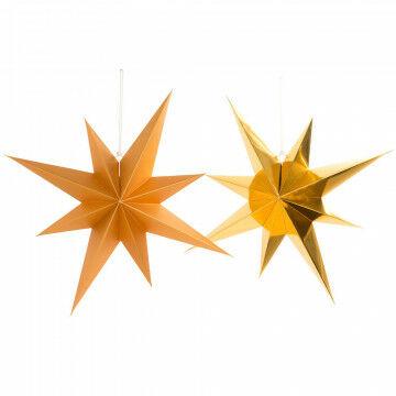 vouwsterren octa 3 met glanzende en 3 met matte finish, goud karton, 70 cm