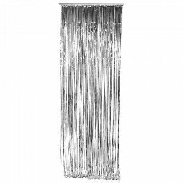 feestgordijn gemaakt van strookjes folie van 5 mm, zilver kunststof, 90 x 300 cm