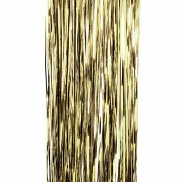 feestgordijn gemaakt van smalle strookjes folie van 5mm warme tint, goud kunststof, 90 x 300 cm