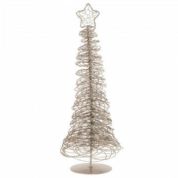 kerstboompje voor op tafel met krullen en ster, elegant en praktisch, zilver metaal, 33 x 15 cm